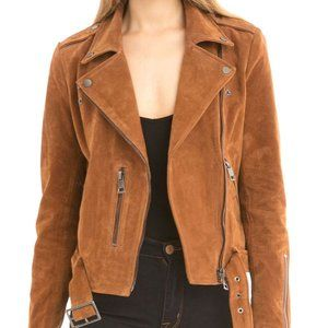 NWT Bagatelle nyc tan Suede Moto Jacket size small